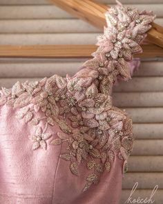 Beautiful blush pink blouse with flower details embellished with glass beads and crystals Couture Embroidery, Embroidery Fashion, Embroidery Dress, Floral Embroidery, Beaded Embroidery, Beaded Lace, Stylish Blouse Design, Fancy Blouse Designs, Bridal Blouse Designs