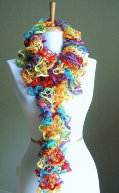 Lace Ruffle Scarf In Primary Rainbow Colors Hand knit for Spring Summe