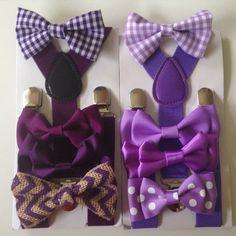 Plum Bow tie suspenders Purple Baby bowtie Plaid by BePrettyBeBold
