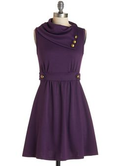 Coach Tour Dress in Violet - Purple, Solid, Buttons, A-line, Sleeveless, Casual, Fall, Exclusives, Best Seller, Cowl, Tis the Season Sale, W...