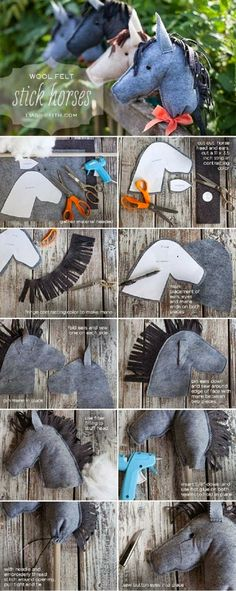 Felt Stick Horses...could use this to make my little pony favor