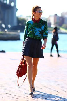 Top:Palm Print VERSACE x H Top over Maroon BlouseSkirt:Black Pleated SkirtBag:Red BagPhoto By:Phil Oh