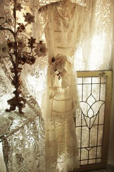 Jeanne d'Arc Living *Edwardian Titanic Couture French Creme Tulle Lace Dress w/HeirloomSewn Style Skirt & Free Ribbon