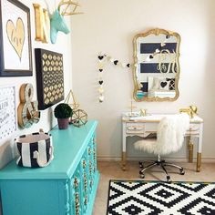 Black white and gold bedroom decor ideas gold nursery design we love the turquoise accents black . black white and gold bedroom decor White Bedroom Decor, White Bedroom Furniture, Bedroom Dressers, Bedroom Colors, Furniture Decor, Bedroom Black, Painted Furniture, Grey Bedrooms, Bedroom Size