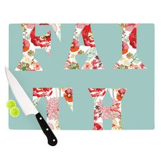 "Suzanne Carter ""FAITH"" Blue Red Cutting Board from KESS InHouse"
