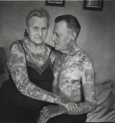 """♥    People who don't like or understand tattoos like to ask, """"But what happens when you're old?""""  This happens.  You're old.  You have tattoos.  That's it."""