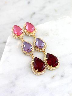 Crystal Embellished Teardrop Earrings   bridal accessories ...