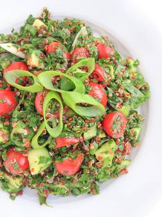 A twist on the popular Lebanese dish, Quinoa Tabbouleh Salad is filled with fresh flavors, naturally gluten free and great for making in advance. Perfect for #MeatlessMondays