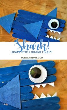 A fun shark craft for summer! What a fun activity for kids to make during shark week or an ocean unit. Popsicle Stick Crafts For Kids, Crafts For Kids To Make, Craft Stick Crafts, Preschool Crafts, Ocean Animal Crafts, Ocean Crafts, Easy Toddler Crafts, Toddler Art Projects, Summer Camp Crafts