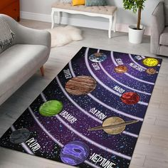 Solar System Chart Area Rug – Groove Bags Trendy Colors, Vivid Colors, Solar System Images, Birthday Charts, Future Baby, Area Rugs, Room Decor, Flooring, Nurseries