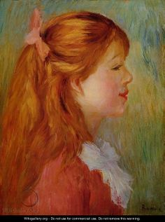 Young Girl With Long Hair In Profile - Pierre Auguste Renoir