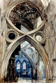 Paul Dmoch, aquarelle. Architecte reconverti dans la peinture, il laisse libre court à son imagination pour ces intérieurs grandioses inspirés des cathédrales.