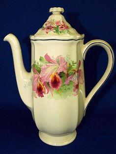 Royal Doulton Orchid Flowers Coffee Pot D 5215 Vintage 1930s England