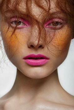#art #make up #palette #pink neon peach