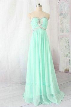 Mint Chiffon Long Sweetheart Beading High Low Prom Dresses K712