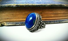 Vintage Sterling Lapis Ring with Flowers and by InRareFormVintage, $75.00
