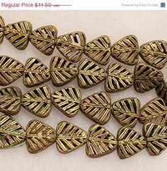 CIJ SALE African Triangle Brass Beads, Tribal Beads, African Spacer Beads, Organic Beads