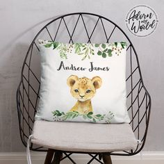 Personalized Lion Pillow, Personalised Name Pillow, Lion Cushion, Lion Name Pillow, Safari Nursery Decor, Lion Gifts, Lion Baby Shower Gift