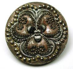 Antique Black Glass Button 3 Leaf Clover w Silver Luster Paint Accents | eBay