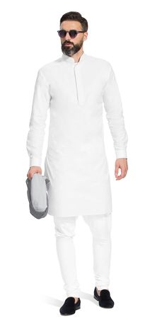 Shop for the Gurhkan Plain White Kurta | Herringbone and Sui