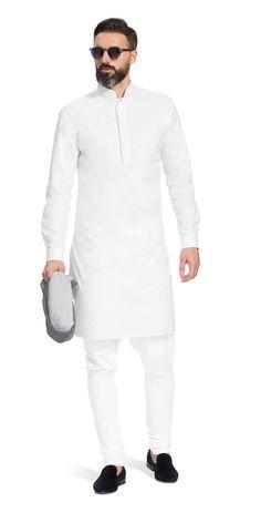 White kurta men - Shop for the Gurhkan Plain White Kurta Herringbone and Sui Simple Kurta Designs, Mens Kurta Designs, African Attire For Men, African Clothing For Men, White Kurta Men, Pathani For Men, Indian Groom Wear, Indian Wear, Pathani Kurta
