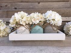 Rustic Tray with 3 Painted Mason Jars by CountryHomeandHeart