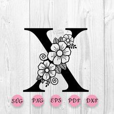 Flower Svg, Star Flower, Flower Alphabet, Embroidery Alphabet, Cool Lettering, Floral Letters, Letter B, Svg Cuts, Embroidery Designs