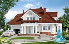 Projekat kuće sa potkrovljem i garažom – Archon 3 Bungalow House Plans, Bungalow House Design, House Front Design, Bedroom House Plans, Dream House Plans, Small House Design, Modern House Plans, Modern House Design, Village House Design