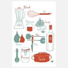 Kitchen Tools Print 12x18, $20, now featured on Fab.