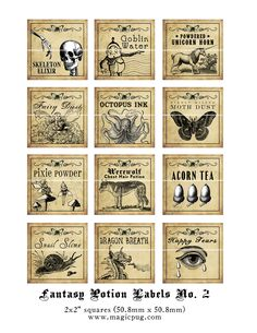 Antique Fantasy Potion Labels II 2x2 inch digital collage sheet inchies 50mm square moth unicorn tears werewolf dragon acorn octopus.