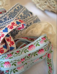 Blue, Red and pink vintage embroidered ribbon.