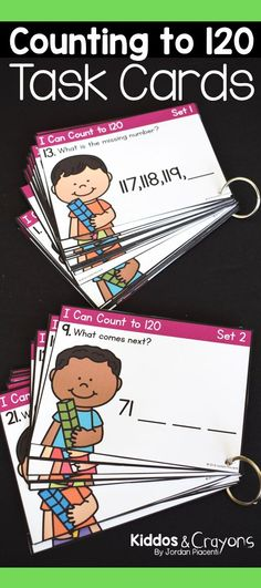 Extending the counting sequence by counting to 120 is an important skill for first graders to master. These task cards provide a fun practice activity for students to develop their counting skills. Students will find the missing number in a sequence and count on from a given number.