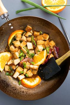 Orange tofu! I don't have to give up the yummy orange chicken I love yay! Gotta use canola oil instead of peanut though, mom has allergies