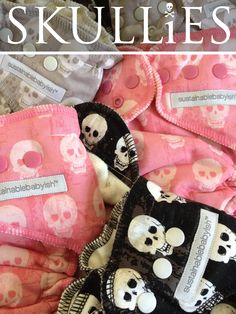 ☠skullies☠ fitted cloth diapers by sloomb. I wish these were around when Diana was a baby :)