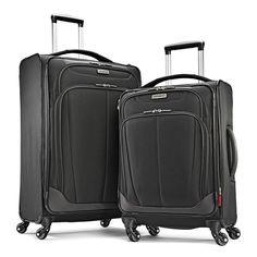 Samsonite Movelite Extreme 2 Piece Black Color Soft Top Spinner Luggage Set #Samsonite