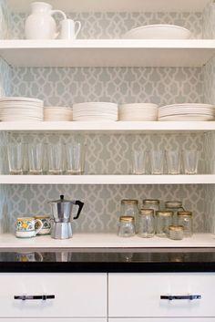 butler's pantry - wallpaper behind shelves