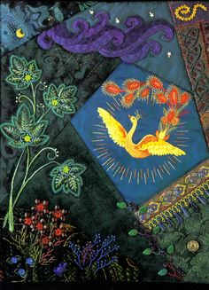 I ❤ crazy quilting . . . Firebird by Carolyn S. Cibik. Created in 1997, this small piece was also created as a cover for our catalog. It was featured in our Crazy Quilters Club, and is inspired by the lovely hand-painted Russian Lacquer boxes which often are decorated with illustrations from fairy tales.
