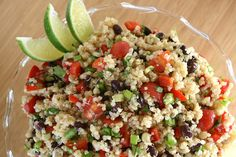1 cup uncooked quinoa 1 1/2 cups black beans (or a 15 oz. can) 1 1/2 cups corn (I used frozen, thawed) 1 1/2 cups cherry tomatoes, quartered...