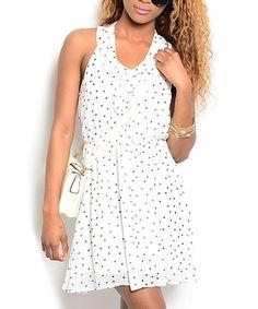 Look what I found on #zulily! White & Black Dot Ruffle Halter Dress #zulilyfinds