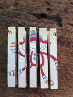 Puzzle Clothes Pin/great idea to do with grace. I have a ton of clothes pins in our craft center. Trying to get useful ideas,
