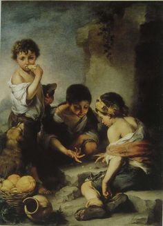 """Fig.3 Bartolomé Estéban Murillo, Street arabs, c. 1670-5 -- """"I do not know whether the little ragamuffins whom the Spanish painter Murillo liked to paint, figure 3, were strictly beautiful or not, but, as he painted them, they certainly have great charm."""""""