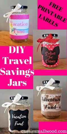 DIY Travel Fund Jar Vacation Savings Get your free printable labels and make your own DIY Travel Sav Crafts For Teens To Make, Diy And Crafts, Easy Crafts, Vacation Savings, Vacation Ideas, Printable Labels, Free Printable, Printables, Savings Jar