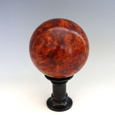 Vintage Amboyna Burl Desk Ornament Ball on Pedestal from julietjonesvintage on Ruby Lane