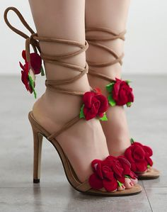 135e88e3787 Red Roses High Heels Sandals With Lace Up Straps  shoes  shoesaddict   shoeslover