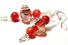 Red Coral Earrings Faceted Lampwork Glass Sterling by KapKaDesign, $27.00