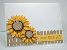 card flower fence sunflowers MFT sunflower Die-namics It's All Really Good Fun Fold Cards, Folded Cards, Sunflower Crafts, Scrapbook Cards, Scrapbooking, Thanksgiving Cards, Get Well Cards, Fall Cards, Greeting Cards Handmade