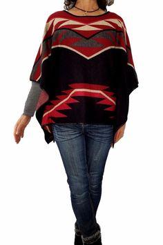 ac6d10456145d ALBERTO MAKALI L Wool Blend Cape Poncho Jacket Aztec Southwestern Print  Sweater  AlbertoMakali  Poncho  Versatile
