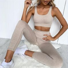 2 Piece Set Workout Clothes for Women Sports Bra and Leggings Set Sports Wear for Women Gym Clothing Athletic Yoga Set Tops For Leggings, Sports Leggings, Gym Leggings, Leggings Store, Running Leggings, Leggings Fashion, Workout Attire, Workout Wear, Workout Outfits