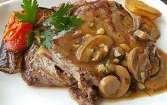 Grilled Rib-Eye Steak with Garlic Mushroom Gravy Recipe