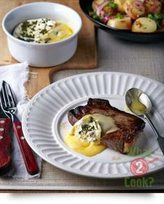 Seared Steak with Oozy Garlic and Herb Baked Brie